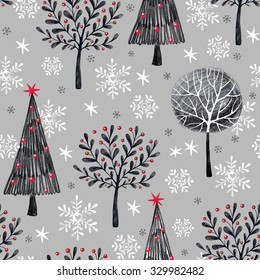 Seamless pattern on the theme of winter christmas forest. The illustration depicts a cute Christmas tree, winter trees with stars, snowflakes on a gray background.