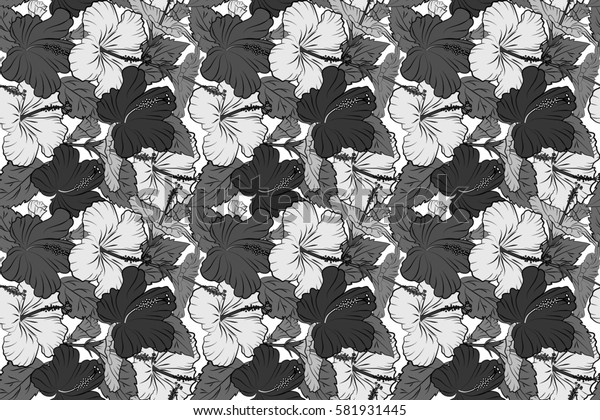 Seamless pattern on white background. Raster hand drawn painting of hibiscus flowers in gray colors.