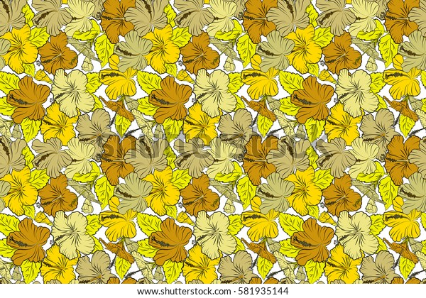 Seamless pattern on white background. Raster hand drawn painting of hibiscus flowers in yellow colors.