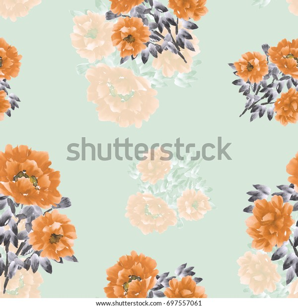 Seamless pattern of orange flowers and bouquets on a light green background. Watercolor