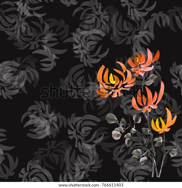 Seamless pattern orange flowers of chrysanthemum on the black background. Watercolor.