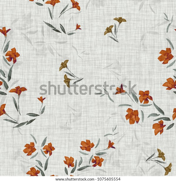 Seamless pattern of  orange and gray small flowers on a light gray linen  background. Watercolor