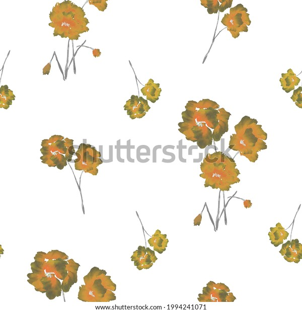 Seamless pattern of orange and green flowers and bouquets on a white background. Watercolor