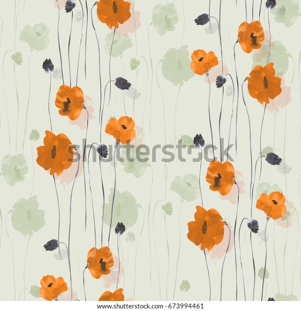 Seamless pattern of orange and green flowers on a light green background. Watercolor - 2