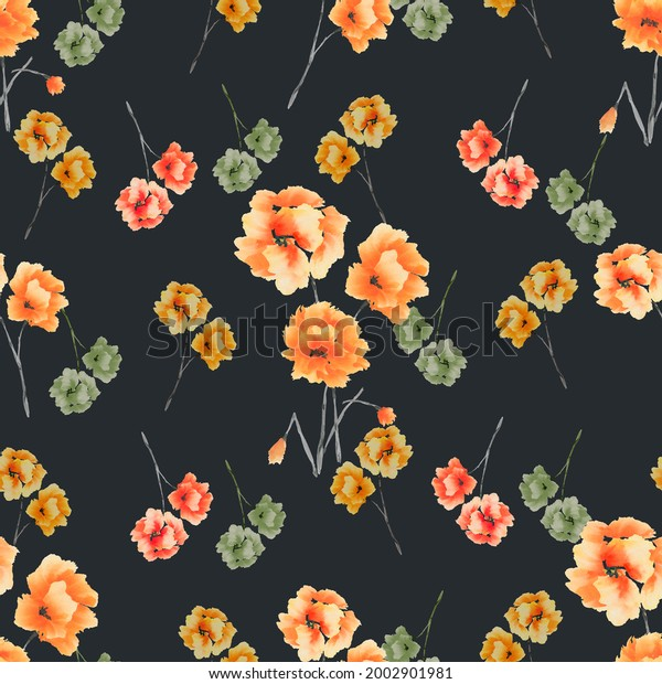 Seamless pattern of orange, red, green flowers and bouquets on the black background. Watercolor