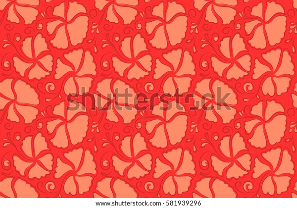 Seamless pattern of orange and red hibiscus floral background. Sketch of many orange and red flowers. Hand drawn seamless flower illustration.