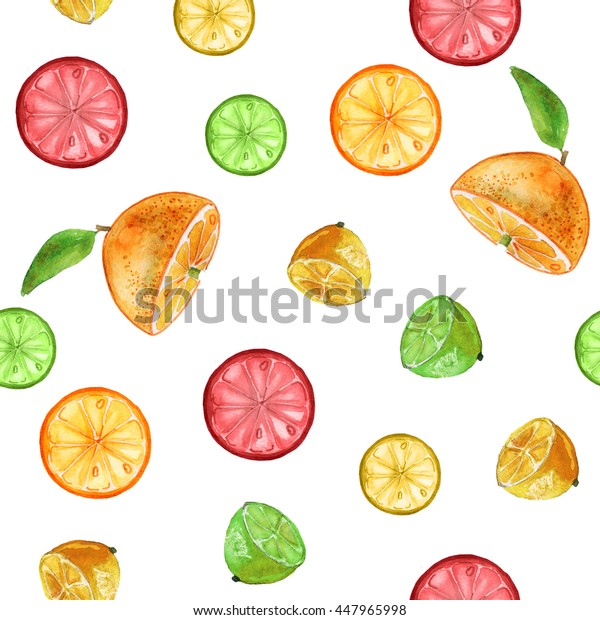 Seamless pattern with orange slices, lime, grapefruit and lemon.Fruit picture.Watercolor hand drawn illustration.Green background. For fabric, wrapping paper, print and web projects.