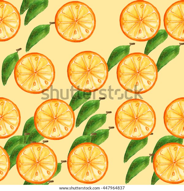 Seamless pattern with orange slices.Fruit picture.Watercolor hand drawn illustration. For fabric, wrapping paper, print and web projects.