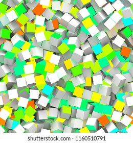 Seamless pattern of orange, turquoise, green and yellow colored cubes. 3d illustration