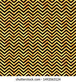 Seamless pattern, orange watercolor background with black geometrical stripes, hand drawn illustration.