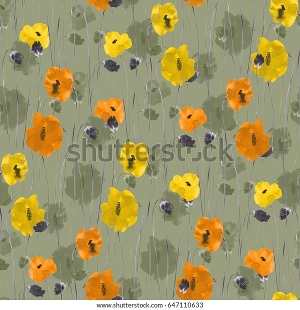 Seamless pattern of orange, yellow, beige flowers on a green background. Watercolor