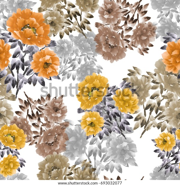 Seamless pattern of orange, yellow, beige flowers of peonies on a white background. Floral background. Watercolor