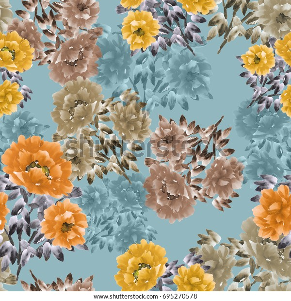 Seamless pattern of orange, yellow, beige flowers of peonies on a turquoise background. Floral background. Watercolor