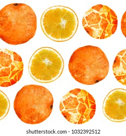Seamless pattern with oranges. Watercolor, photo and digital mixed media technic.