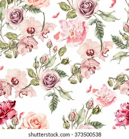 Seamless pattern with orchid flowers, roses, peony and leaves. Illustration