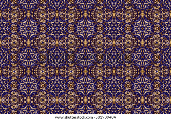 Seamless pattern oriental ornament in baroque style. Traditional classic raster golden pattern. Blue and golden pattern.