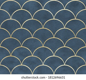 Seamless pattern ornamental watercolor texture luxury style wallpapers textile interior design golden monochrome classic geometry modern print damask blue