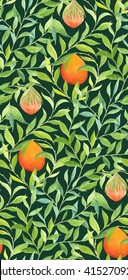 Seamless pattern with painted fruit and leaves. Classic style foliage ornament with hand painted gouache and watercolor floral elements. Wallpaper textile and package design. William Morris inspired.