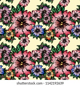 Seamless pattern with painted Petunia flowers on a white background