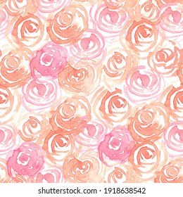 Seamless pattern with painted roses in watercolor
