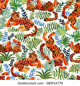 Seamless pattern with painted in watercolor tigers and rainforest plants in vintage style