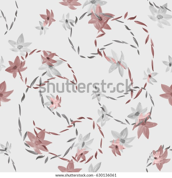 Seamless pattern with paisley and beige and gray flowers on a light gray background. Watercolor