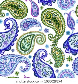 Seamless pattern from paisley, watercolor drawing. Oriental ethnic ornament of buta