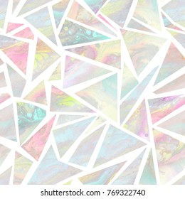 Seamless pattern with pale holographic triangles