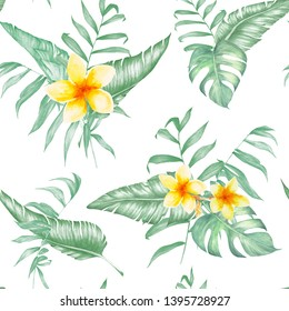 Seamless pattern of palm leaves, banana and monstera with tropical flowers. Watercolor tropical design. Hand drawn illustration.