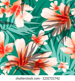 Seamless pattern with palm leaves and plumeria. watercolor flowers. hand drawn palm leaves.