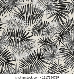 Seamless pattern with palm leaves. Simple pencil drawing. Manual graphics. Stylish vintage illustration. Design wallpaper, fabrics, postal packaging.