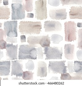 Seamless pattern with pastel grey and brown textured rectangle blocks painted in watercolor on white isolated background