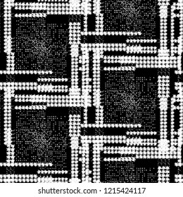 Seamless pattern patchwork design. Black and white print with tiles. Watercolor effect. Suitable for bed linen, leggings, shorts and fashion industry.