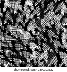 Seamless pattern patchwork design. Black and white print with scribble lines, houndstooth tiles. Watercolor effect. Suitable for bed linen, leggings, shorts and fashion industry.