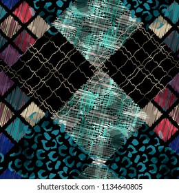 Seamless pattern patchwork design. Ethnic background with thread elements, leopard spots and watercolor effect. Textile print for bed linen, jacket, package design, fabric and fashion concepts.