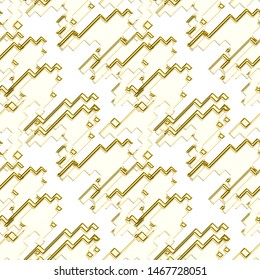 Seamless pattern patchwork design. Mixed print golden houndstooth tiles. Watercolor effect. Suitable for bed linen, leggings, shorts and fashion industry.
