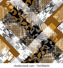 Seamless pattern patchwork design. Striped background with houndstooth, snakeskin, leopard and watercolor effect. Textile print for bed linen, jacket, package design, fabric and fashion concepts.