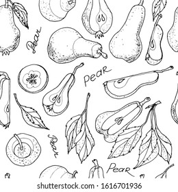 Seamless pattern of Pears hand drawn set. Fruit , Sketch. Whole and chopped pears with leaves, isolated on white  background raster illustration