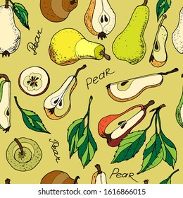 Seamless pattern of Pears hand drawn set. Fruit , Sketch. Whole and chopped pears with leaves, isolated on yellow  background raster illustration
