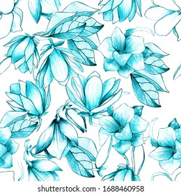 Seamless pattern with pencil magnolia. magnolia buds. manual graphics. Botanical flower, mascara, floral pattern for textile decoration and design, patterns. botanical color illustration. stock