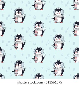 Seamless pattern with penguin animal in scarf and headphones. Endless texture with funny polar winter bird. Wallpaper design with cartoon character. Wild penguin in flat style design.