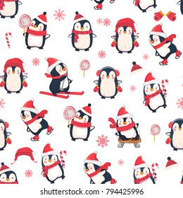 Seamless pattern with penguins. Cute penguin cartoon illustration. Christmas animals pattern.