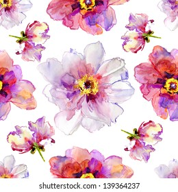 Seamless pattern with peony flowers. Watercolor illustration.