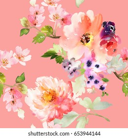 Seamless pattern with peony on a pink background. Watercolor illustration.