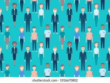 Seamless pattern of people. Men and women of different ages are standing on a blue background. Smiling happy man, woman. Businessman, businesswoman. People. People in business and sports casual wear