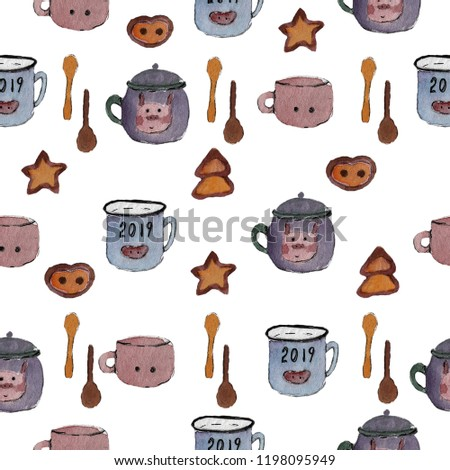 seamless pattern pig cup new year wallpapers