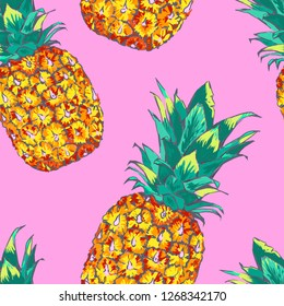 Seamless pattern with pineapple. Bright and juicy illustration