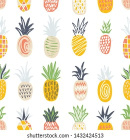 Seamless pattern with pineapples of different color and texture on white background. Backdrop with exotic tropical fresh juicy fruits. Colorful hand drawn illustration for wrapping paper.