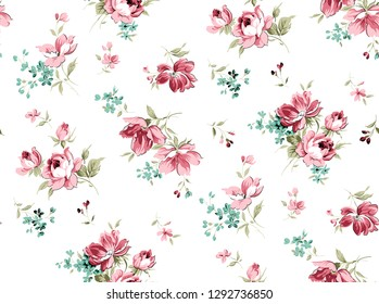 seamless pattern with pink and blue small wild flowers on white background