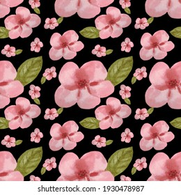 Seamless pattern with pink cherry blossoms and leaves on a black background. The illustration is hand-drawn in watercolour. Can be used on fabric, covers, packaging paper, for scrapbooking.